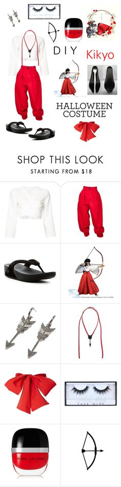 """""""Kikyo 🏹"""" by witchousenova ❤ liked on Polyvore featuring Lisa Marie Fernandez, Yves Saint Laurent, FitFlop, Jade Jagger, Sango, Valentino, Huda Beauty and Marc Jacobs"""
