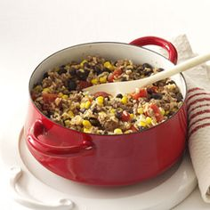Hearty Beans and Rice (GF) (ground meat, black beans, rotel, corn)