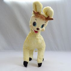 Vintage Rushton Company Rubber Face Ivory Reindeer Christmas Stuffed Animal Toy | eBay