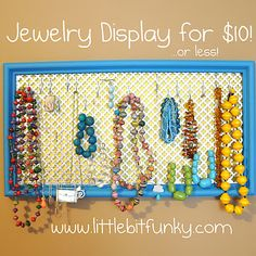 "Jewelry Display that can serve as something ""artsy"" on my plain bedroom wall...yes please!"