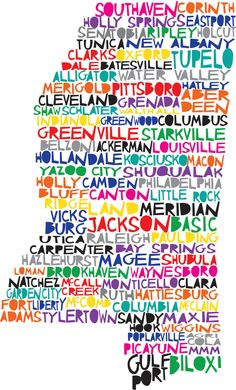 MISSISSIPPI Digital illustration of Mississippi State with Cities Listed. $15.00, via Etsy.