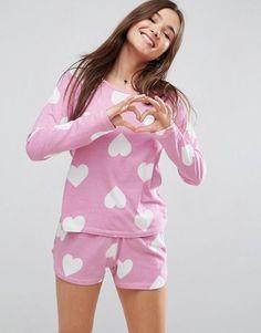 6fc016872c4ca ASOS Heart Print Long Sleeve Tee & Short Pajama Set - Multi Nightwear,  Lingerie Sleepwear