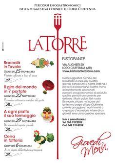 Giovedì Menù_Ristorante La Torre_Loro Ciuffenna