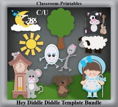 Clipart Templates for Scrapbooking.    Hey Diddle Diddle Clipart Template Bundle. For Digital Scrapbooking, Clipart, Creating Cards & Printables.    Comes PSD Format  For Use in Photoshop and Graphics Programs