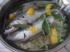 sgombro marinato. La ricetta proposta da Elisa prevede 6-7 minuti di cottura in acqua + almeno 5 ore di marinatura in frigo con olio, limone, sale e odori