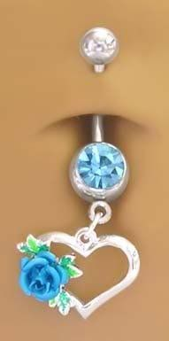 Aqua Lt Blue Rose Heart Petite Dangle Belly button Navel Ring 14 gauge playful piercings. $8.00