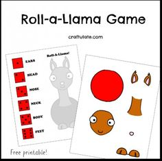 "Roll-a-Llama Game - a free printable to go with any of the ""Llama, Llama"" books!"
