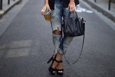 ripped jeans and heels. yes.