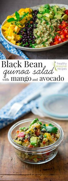 Blog post at Healthy Seasonal Recipes : This black bean and quinoa salad with mango and avocado is a delicious gluten-free side salad for potlucks, parties and summertime picnics, [..]