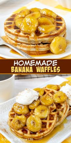Homemade Banana Waffles - these easy banana waffles have a crisp outside and soft inside and taste like banana bread. Make a batch for breakfast and a batch to freeze for later. Banana Recipes Easy, Easy Waffle Recipe, Waffle Maker Recipes, Homemade Banana Bread, Homemade Waffles, Waffle Toppings, Easy Delicious Recipes, Tasty, Pork And Beef Recipe