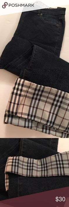Burberry - women's jeans Size 12 women's jeans; wore 1 time! Awesome condition, except a little bleeding at the bottom of the jeans were it's cuffed (shown in picture). Burberry Pants