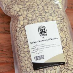 Roast your own green coffee. India, Monsooned Malabar, a nutty and spicy coffee with no acidity for espresso lovers. Coffee Roasting, Your Message, Coffee Drinks, Spices, Spice