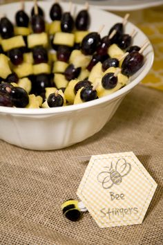 50 Adorable Ideas to Pull Off the Most Popular Baby Shower Themes for Boys - Bee stinger snacks Bumble Bee Birthday, Baby Birthday, Birthday Ideas, Bee Birthday Cake, Fete Anne, Baby Shower Fruit Tray, Food For Baby Shower, Baby Shower Snacks, Shower Baby