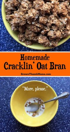easy to make copycat Cracklin' Oat Bran cereal. This homemade version is filling, nutritious, and so much cheaper than the box. Amazing crumbled over ice cream! Oat Bran Recipes, Cereal Recipes, Brunch Recipes, Breakfast Recipes, Homemade Breakfast, Sunday Recipes, Breakfast Ideas, Oat Bran Cereal, Real Food Recipes