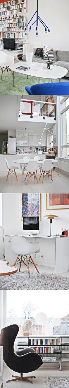 Vår nya soffas tyg! Kontorsbordet, vi har samma fast barbord!! Gillar hemmet!  Scandinavian Design Classics