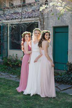 25a79e8b4680 Mismatched bridesmaids dresses @dessygroup Rustic Boho Wedding, Rustic  Wedding Favors, Rustic Wedding Venues