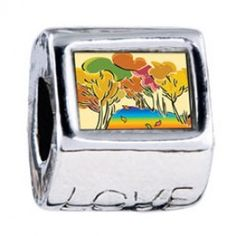 Golden Fall Autumn Photo Love Charms  Fit pandora,trollbeads,chamilia,biagi,soufeel and any customized bracelet/necklaces. #Jewelry #Fashion #Silver# handcraft #DIY #Accessory