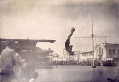 Frank Keogh of Chicago Athletic Association in fancy diving competition (placed third) at the 1904 Olympics.