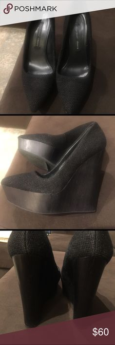 Theysken's Theory linen black wedge shoes- size 39 Theysken's' Theory wedge shoes size 39- these are a black textured material on top. They have only been worn in my house. Two things to note- dent in wedge of left shoe in the front. Slight discoloration of heel in the back of right shoe near the bottom. Please see pics. These retail for $995 so someone is going to get a great deal if they use a Sharpie! Theyskens' Theory Shoes Wedges