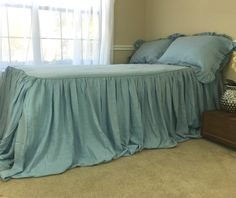 New to CustomLinensHandmade on Etsy: Blue Linen Bedspread Ruffled Bed Cover Handmade in Natural Linen Ruffle Bedding queen bedspread king bedspread twin bedspread (237.00 USD)