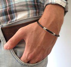 Brad Black Men's Bracelet  Men Tube Bracelet  Men by Galismens
