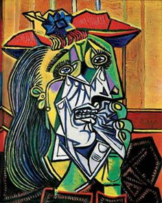 Weeping Woman by Pablo Picasso. A cubist piece from the most well known cubist, Picasso. This painting is a reference to one of the figures in Guernica, in which she cradles her dead child. Art Picasso, Picasso Portraits, Picasso Paintings, Cubist Portraits, Oil Paintings, Pablo Picasso Artwork, Picasso Guernica, Picasso Prints, Art Projects
