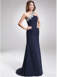 Pretty Side Shoulder- A-Line/Princess Sweep Train Chiffon Evening Dress With Lace Beading (017016875) - JJsHouse