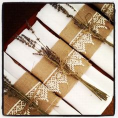 Lace And Burlap Wedding Centerpieces | Hessian & Lace Band Napkin Ring | - Sugar And Spice Events Blog