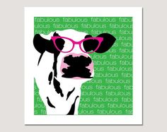 LOVE IT!!  Fabulous Cow in Pink Movie Star Eye Glasses by StraySquirrels, $18.50