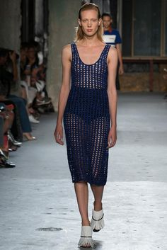 Crochet slip dress -- basically a slanted version of dc granny clusters. Proenza Schouler NYFW S15 RTW