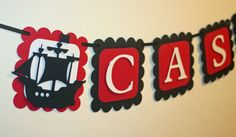 Pirate Name Banner Black and Red , Pirate Ship Decorations, Pirate Birthday on Etsy, $15.00