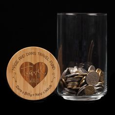 A lovely gift for the grey nomads in your life - a savings glass jar to help them save for their adventures. The gift givers names are laser engraved on the wooden lid of the jar. The product is (H) X (W) X (D) Jar contents are not included. Personalised Gifts Australia, Personalized Gifts, Stocking Stuffers For Teenagers, Glass Jars, Wine Glass, Lolly Jars, Savings Jar, Travel Fund, Coffee Jars