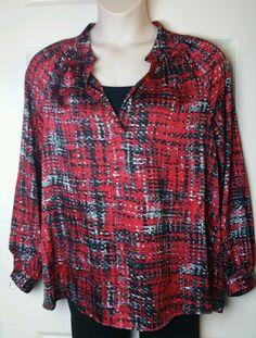 Red Pattern Kasper Separates Long Sleeve Blouse Women's Top Sz Large L #Kasper #Blouse
