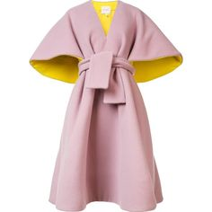 Delpozo belted poncho ($8,925) ❤ liked on Polyvore featuring outerwear, coats, jackets and pink poncho