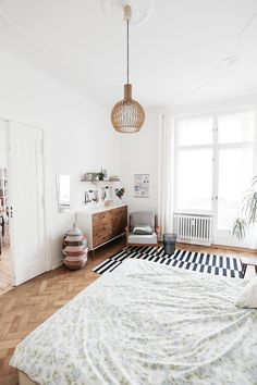 A bedroom in a fab mid-century inspired home in Berlin. Herz & Blut. My Scandinavian Home.
