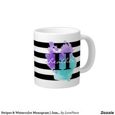 Stripes & Watercolor Monogram | Jumbo Mug
