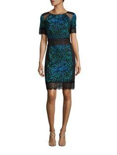 TADASHI SHOJI Short Sleeve Lace Cocktail Dress. #tadashishoji #cloth #dress