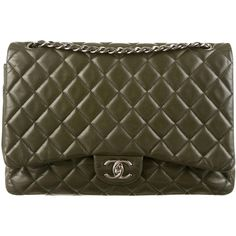 Pre-owned Chanel Classic Maxi Double Flap Bag (14.685 BRL) ❤ liked on Polyvore featuring bags, handbags, green, quilted leather handbags, man bag, handbags purses, leather purse and leather hand bags