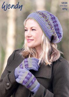 bc214023748 The Knitting Network Wendy Ladies Beret Hat Gloves Merino 4 Ply Knitting  Pattern 5934