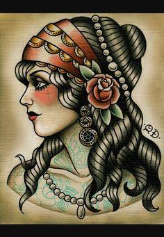 Gypsy head tattoo drawing