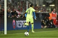 Neymar celebrando el segundo gol del Barça