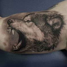 angry wolf tattoo on bicep