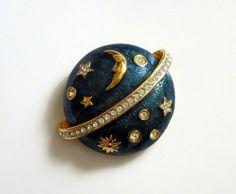 #VogueTeam #Vintage Swarovski Celestial Brooch, Teal Enamel & Hand Set Austrian Crystals, Gold Plated, Moon Stars, Planet, Swan Hallmark, Fashion, 15% Off SALE!
