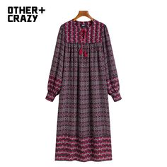 OTHERMIX 2016 spring new national wind long section of large mosaic design dress woman * Click image to review more details.