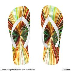 Shop Cosmic Crystal Flower Flip Flops created by Cosmetallic. Flip Flop Sandals, Flip Flops, Flip Flop Art, Rainbow Sandals, Crystal Flower, Cosmic, Summer Fun, Beachwear, Crystals