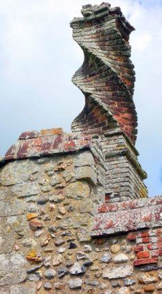 Ornate chimney, Framlingham Castle, Suffolk, England