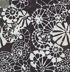 Batik Textiles Black White Floral Fabric   new Apartment ...