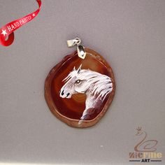 HAND PAINTE ARABIANHORSE PENDANT FOR NECKLACE GEMSTONE WITH SILVER BAIL ZL807503 #ZL #Pendant