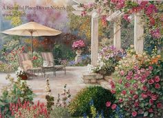 """To brighten up your day I have something special to show you — """"A Beautiful Place"""" in silk ribbon embroidery. Have a good week! Love Di"""