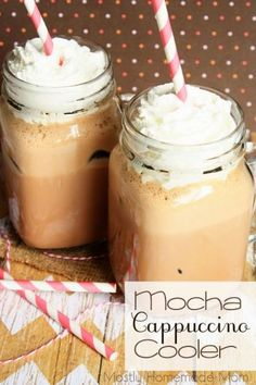 Mocha Cappuccino Cooler - A delicious way to use up the cold coffee in the pot! Blended with chocolate ice cream and chocolate syrup, this is one of the best iced coffees I've ever had!